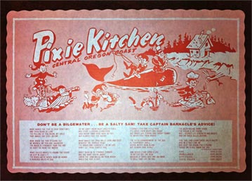 Pixie Kitchen Menu in Lincoln City, Oregon