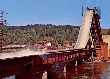Log Flume ride at Pixieland in Lincoln City, Oregon